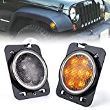 Xprite LED Amber Yellow Front Fender Side Marker Light Assembly with Smoke Lens for 2007 - 2018 Jeep Wrangler JK