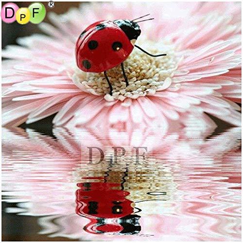 DIOPN 5D-diamant-schilderij, kevers, kruissteek, vierkant, compleet, diamant-borduurwerk, wanddecoratie (ronde diamanten 40 x 50 cm)