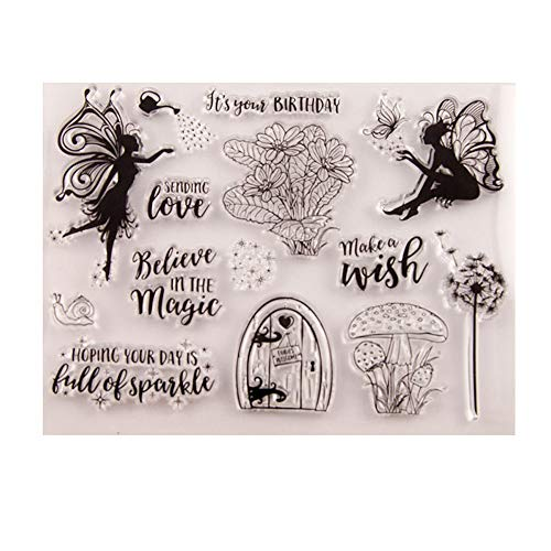 5.5 by 7.1 Inches Angel Girl Make a Wish Letters Flower Butterfly Clear Rubber Stamps for Scrapbooking Card Making Christmas Birthday Stamps (T1288)