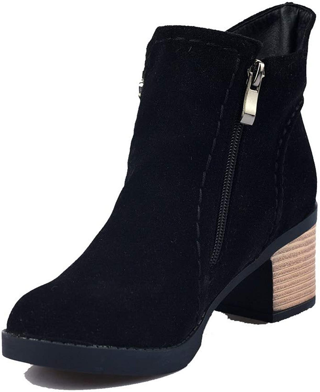 AmoonyFashion Women's Frosted Zipper Round-Toe Kitten-Heels Ankle-High Boots, BUTXT020293