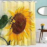 YANGDD Duschvorhang, Sonnenblumen-Druck, wasserdicht, Polyester, schimmelresistent, Stoff, Kunst-Design, Duschvorhänge mit 12 Haken, für Badezimmer, Badewannen-Dekorationen, 180 x 180 cm