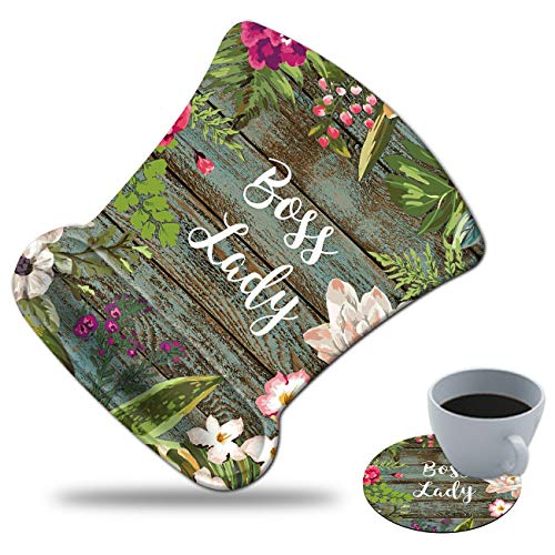 Gaming Mouse Pad with Wrist Support, Spsun Floral Boss Lady Pattern Custom Design Cute Mousepad,Pain Relief Wrist Mouse Pads for Computer Laptop Home Office (with Coasters)