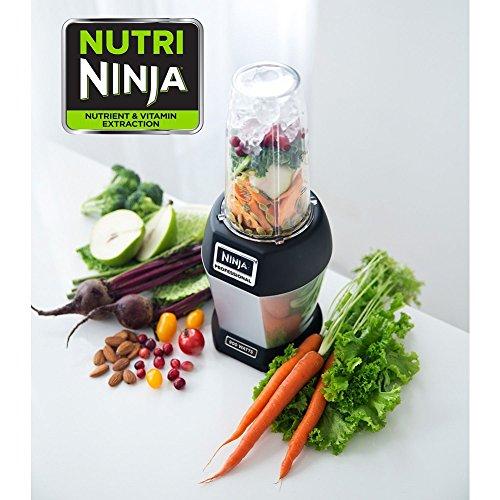 Ninja BL455_30 Nutri Professional Personal Blender Bonus Set with 3-Sip & Seal Single Serves(12, 18, and 24 oz. Cups) & 75-Recipe Cookbook, Stainless Steel/Black