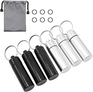 HRX Package Little Keychain Pill Holder Fob, 6 pcs Waterproof Aluminum Pill Case Container for Daily Meds, Small Pill Box for Travel Outdoor EDC
