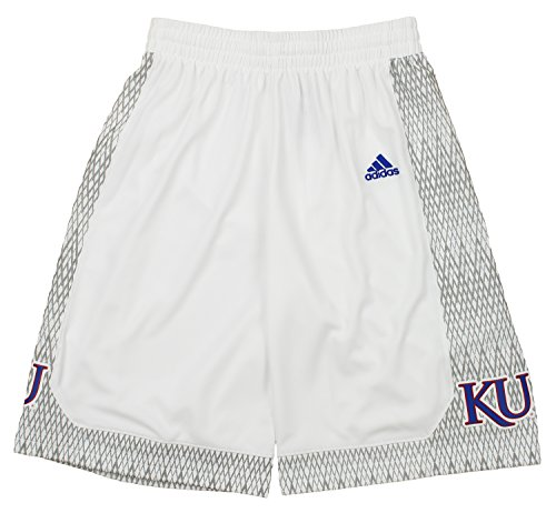 adidas NCAA Men's Kansas Jayhawks Bball Shorts, White Medium