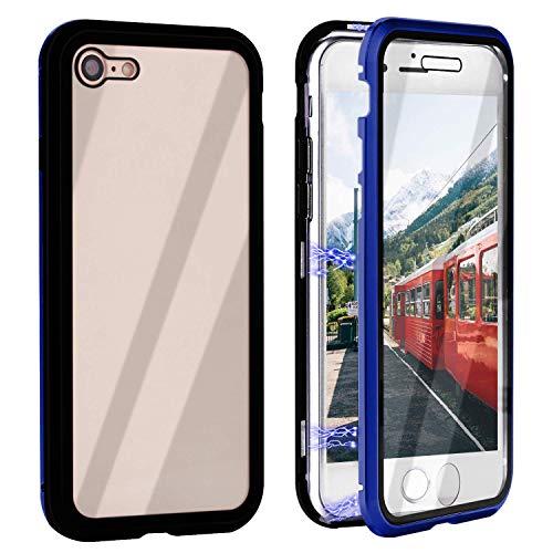 Funda Compatible para iPhone 6 Plus/iPhone 6S Plus Adsorción Magnética 360 Grados Protección Carcasa Delantera y Trasera Colorear Vidrio Templado Metal Marco Delgada Bumper Cubierta Case (8)