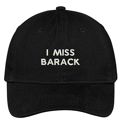 Trendy Apparel Shop I Miss Barack Embroidered 100% Quality Brushed Cotton Baseball Cap - Black