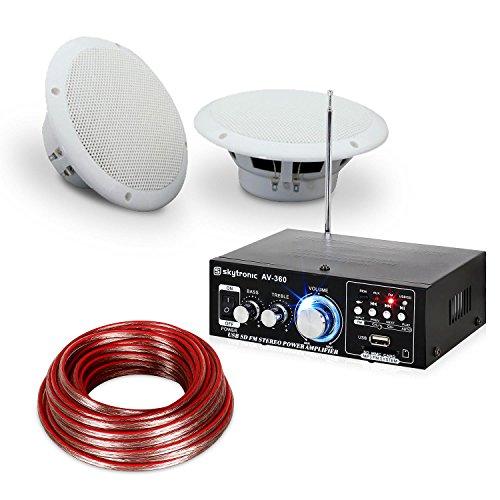 Terrassen & Badezimmer Hifi Speaker Sound Set - Hifi-Verstärker, 2 x feuchtigkeitsbeständige 2-Wege-Lautsprecher mit je 35 W, 2 x 10 m Lautsprecherkabel, spritzwassergeschützt nach IP44, weiß