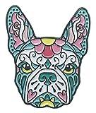 French Bulldog Pink Teal Sugar Skull Tattoo Breed Dog Lover Enamel Lapel Pin