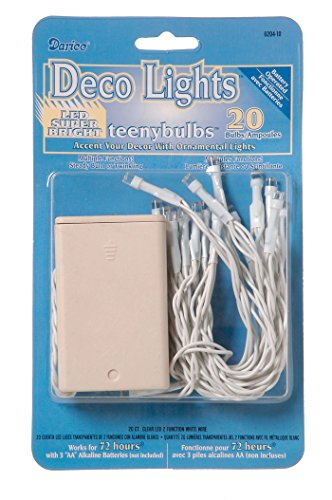 Darice Deco Battery Operated Teeny Bulbs-20 Bulbs-Clear Lights, White Cord