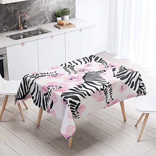 HNHDDZ Tischdecke 3D Tier Zebra Kind Zimmer Rechteck Wasserdicht Abwaschbar Garten Balkon Außen Fleckabweisend Camping Küche Couchtisch Für Gartentisch Draussen Hochzeit Outdoor (B, 100x140 cm)