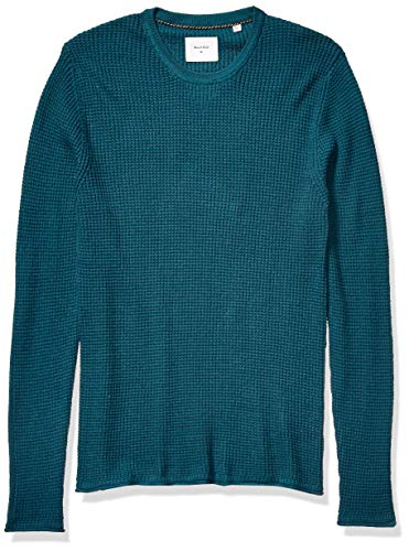 Billy Reid Men's Cotton Cashmere Mini Waffle Crew Neck Sweater, Teal, L