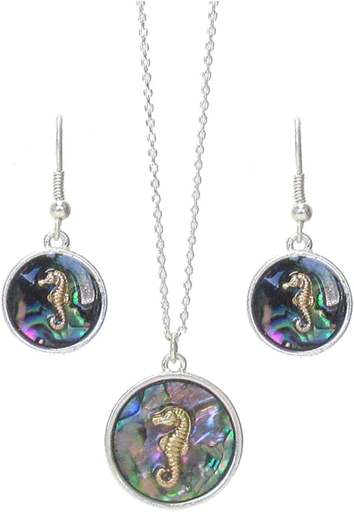 Fashion Jewelry ~ Abalone Seahorse Pendant Necklace and Earrings Set for Women Girls Teens Girlfriends Birthday Gifts