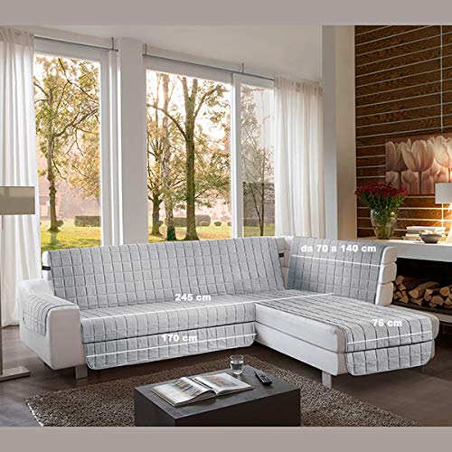 la biancheria di casa Simplicity Plus Angle Copri Salva Divano per divani ad Angolo (245 cm, Grigio Chiaro)