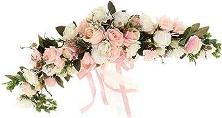 Fityle Shabby Chic Silk Rose Flower Mirror Wall Door Wreath Ring Trim Wedding Rattan Leaves Blossom Garland - Garland A2, 60 x 15 x 9 cm