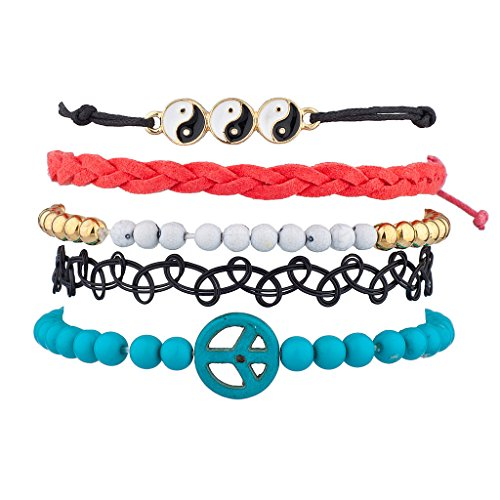 Lux Accessories Yin Yang Peace Woven Beaded Tattoo Sign Arm Candy Bracelet Set