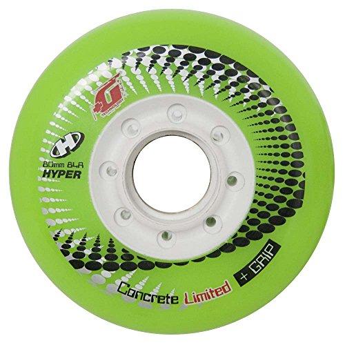 HYPER - Concrete +G LTD (Limited Edition) Inliner Rollen für Skates, Ersatzrollen für alle gängigen Inliner-Marken, 4er-Pack, Grün/Weiß