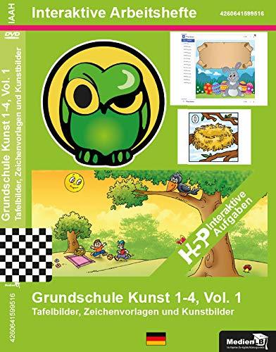 Interaktives Arbeitsheft, Nachhilfe geeignet Grundschule Kunst 1-4, Vol. 1 - Tafelbilder, Zeichenvorlagen & Kunstbilder