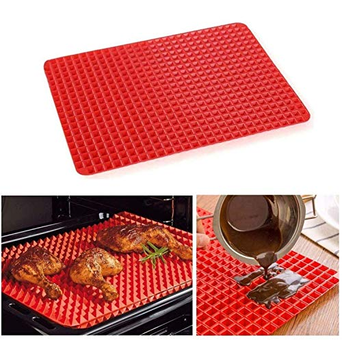 MantraRaj Pyramid Pan Fat Reducing Non Stick Silicone Cooking Barbecue Grilling Grill Pastry BBQ Kitchen Mat Oven Bakeware Baking Tray Sheet