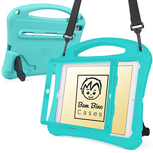 Bam Bino Space Suit [Super Rugged Kids Case] for iPad 9.7-inch (2018/2017 iPad 6th/5th Gen), iPad Pro 9.7, iPad Air 2/1 |Designed in Australia for Children (Turquoise)