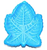 Vintage Pressed Blue Slag Glass Leaf Shaped Dish with High Relief Details