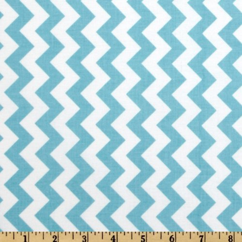 Riley Blake Designs Riley Blake Chevron Small Aqua Fabric by The Yard, Aqua