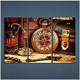 Leinwand Bild 3 Panels Leinwand Kunst Vintage Uhrenkasten Schlüssel Home Decor Wandkunst Gemälde Leinwanddrucke Bilder für Raum Poster-50x100cm Kein Rahmen