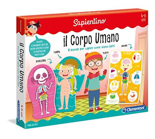 Clementoni - 11981 - Sapientino - Il Corpo Umano - gioco corpo umano, 8 puzzle incastro bambini - gioco educativo 4 anni tessere illustrate - Made in Italy