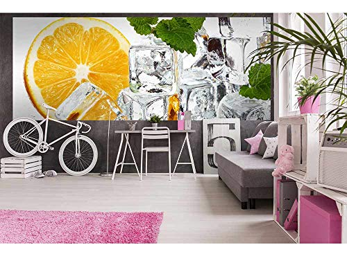 Vlies Fototapete ZITRONE UND EIS 375 x 150 cm | Vliestapete - Wandtapete für Wohnzimmer Schlafzimmer Büro Flur | PREMIUM QUALITÄT - MADE IN EU - Inklusive Tapetenkleber