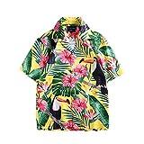 Fansu 3D Camisa Hawaiana para Hombre, Fiesta Tropical de Manga Corta Impreso Camisas de Trabajo Surf Funky Camisa Señores (XL,Tucán)