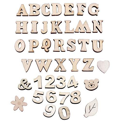 Holzbuchstaben Großbuchstaben, 60 Stück Alphabet Und Nummer Buchstaben aus Holz, Symbol aus Holz, Kid Holzspielzeug Lernspielzeug