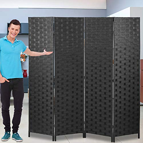 Room Dividers and Folding Privacy Screens 4 Panel 6 ft Foldable Portable Room Seperating Divider, Handwork Wood Mesh Woven Design Room Divider Wall, Room Partitions and Dividers Freestanding, Black