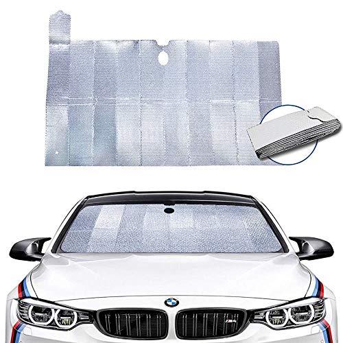Dobee Auto Sonnenschutz Frontscheibe, Aluminiumfolie Windschutzscheibe Sonnenblende UV-Schutz AutozubehörFaltbare Einfache Lagerung, 150 * 80 cm für PKW SUV Truck KFZ