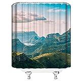 N\A Green Mountain Duschvorhang Dekor Blue Sky White Cloud Canyon Badezimmer VorhangPolyester Stoff wasserdicht mit 12 Stück Haken