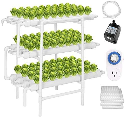 ZXMT Hydroponic Grow Kit 108 Plant Sites 3 Layers Hydroponics Growing System Garden Plant System for Leafy Vegetables with Water Pump, Pump Timer, Nest Basket and Sponge