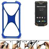 K-S-Trade® Handyhülle Für Ruggear RG740 Silikon Schutz Hülle Cover Case Bumper Silikoncase TPU Softcase Schutzhülle Smartphone Stoßschutz, Blau (1x),
