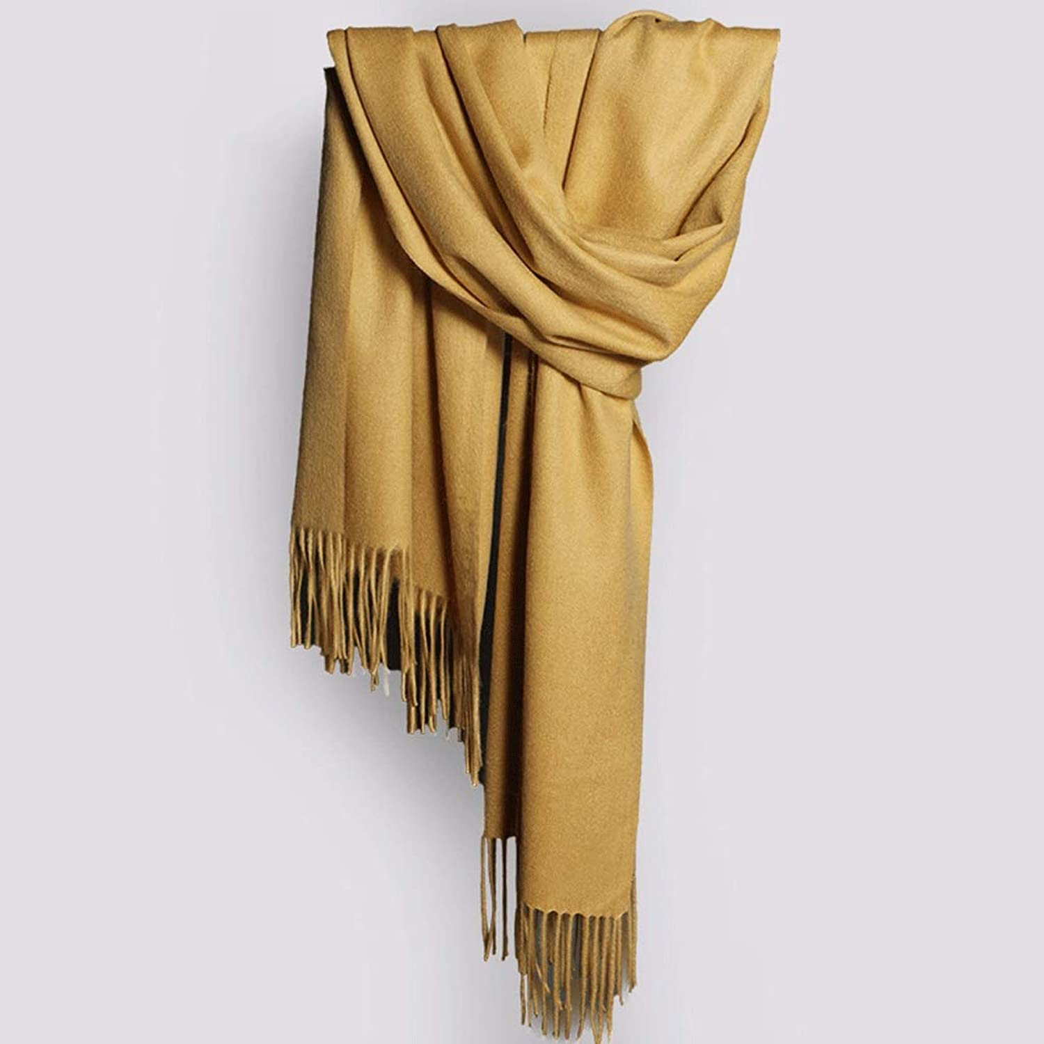CHX Scarf 100% Natural Fiber Solid color Thick Winter Simple Keep Warm 210×70cm Multicolor Optional V (color   Yellow)