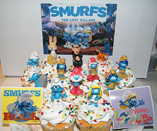 The Lost Village Smurfs Movie Deluxe Cake Toppers Cupcake Decorations Set of 14 with Figures and Stickers Featuring Both Classic and New Smurf Characters Including Bunny Bucky!
