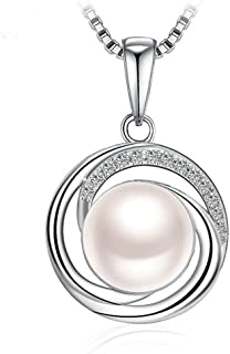 Todubem 925 Sterling Silver Pearl Pendant Necklace for Female Women Ladies Girls Gift Jewelry