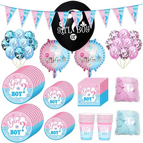 Amycute 90-teiliges Baby Shower Deko Set,Riesen Luft-Ballons Boy or Girl,Konfetti und Luftballons,Mädchen oder Junge Banner ,Teller, Becher, Servietten, für 16 Personen.