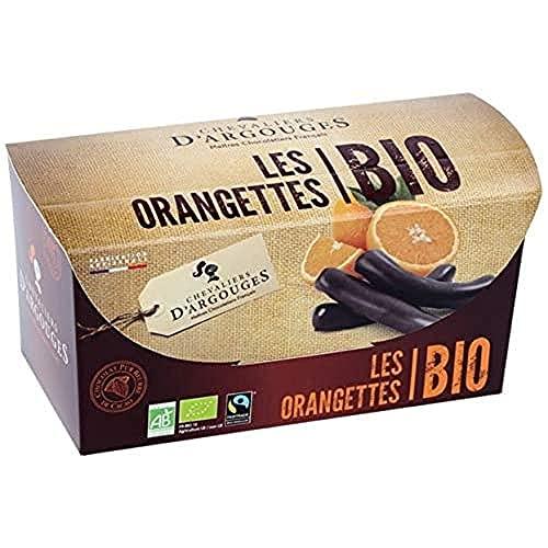 CHEVALIERS DARGOUGES Maîtres Chocolatiers Français Orangettes Enrobées en Chocolat Noir 72% Bio/Équitable Ballotin Dégustation 180 g