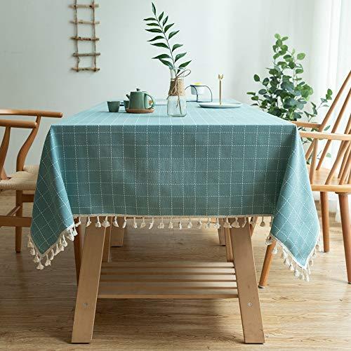 ZBXK Mantel de Lino de algodón, Cubierta de Mesa Rectangular con Borla para Comedor Buffet de Mesa de Cocina