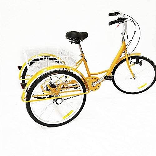 QQJL Triciclo para Adultos Triciclo para Adultos de una Sola Velocidad Bicicleta de 3 Ruedas Bicicleta para Personas Mayores Bicicleta de Carga 20~26