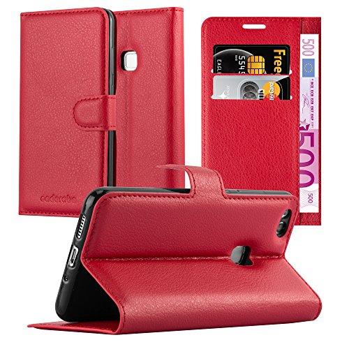 Cadorabo Custodia Libro per Huawei P10 Lite in Rosso Carminio - con Vani di Carte, Funzione Stand e Chiusura Magnetica - Portafoglio Cover Case Wallet Book Etui Protezione