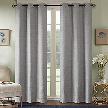 Comfort Spaces - Grasscloth Window Curtain Pair/Set of 2 Panels - Gray - 40x84 inch panel - Foamback - Energy Efficient Saving- Grommet Top - 2 Pieces