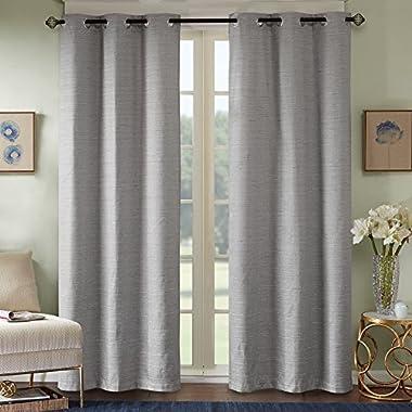 Comfort Spaces - Grasscloth Window Curtain Pair/Set of 2 Panels - Gray - 40x84 inch panel - Foamback - Energy Efficient Saving- Grommet Top - 2 Pieces