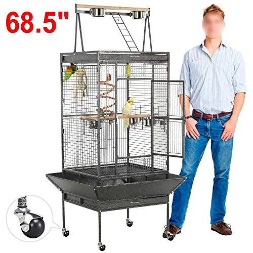 YAHEETECH 69-inch Wrought Iron Rolling Large Parrot Bird...