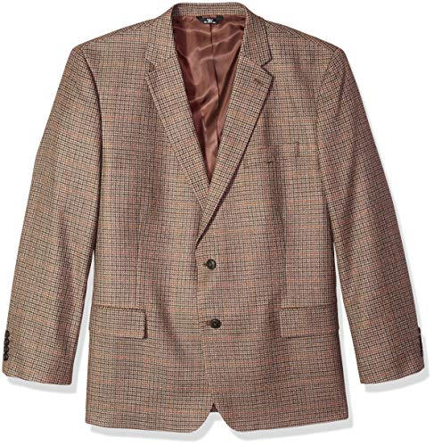 Haggar Men's Big and Tall B&T Houndstooth Plaid Lambswool Classic Fit Sport Coat, Oatmeal, 52R
