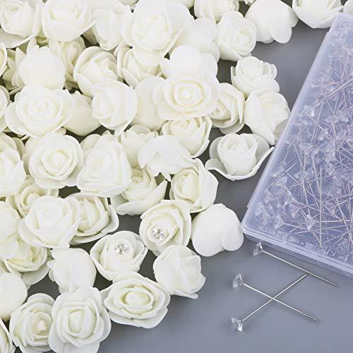VINFUTUR 200pcs Rosas Artificiales Blancas Flores Falsas Rosas Espuma+200pcs Clips con Cabeza Cristal para DIY Regalos Oso Rosas Decoración Jarrón Mesa Boda Manualidad