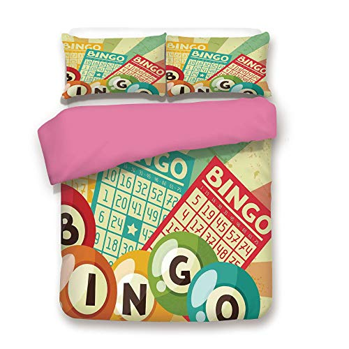Zimmer Vintage Decor 3D Duvet Cover Set Bingo Game with Ball and Cards Pop Art Stylized Lottery Hobby Celebration Theme Bedding Set with 2 Pillow case Full,Best Gift for Valentines'Day Birthday Multi